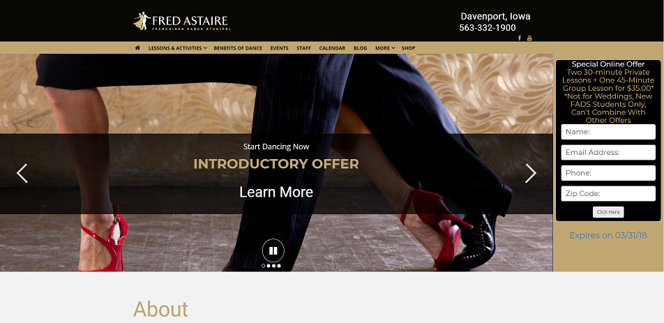 Preview image of a website for a Dance Studio.