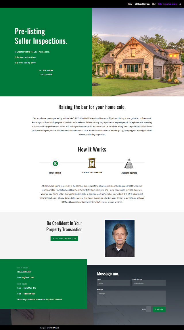 Web Page Design Portfolio Piece of a Home Inspection Service in Louisville Kentucky.
